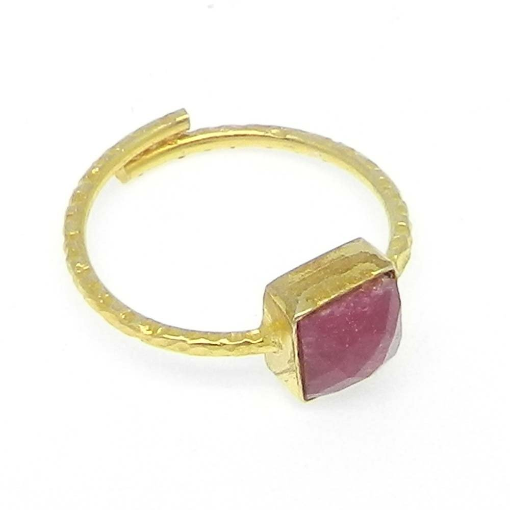 Ruby Silver Gold Plated Hammered Band Adjustable Ring