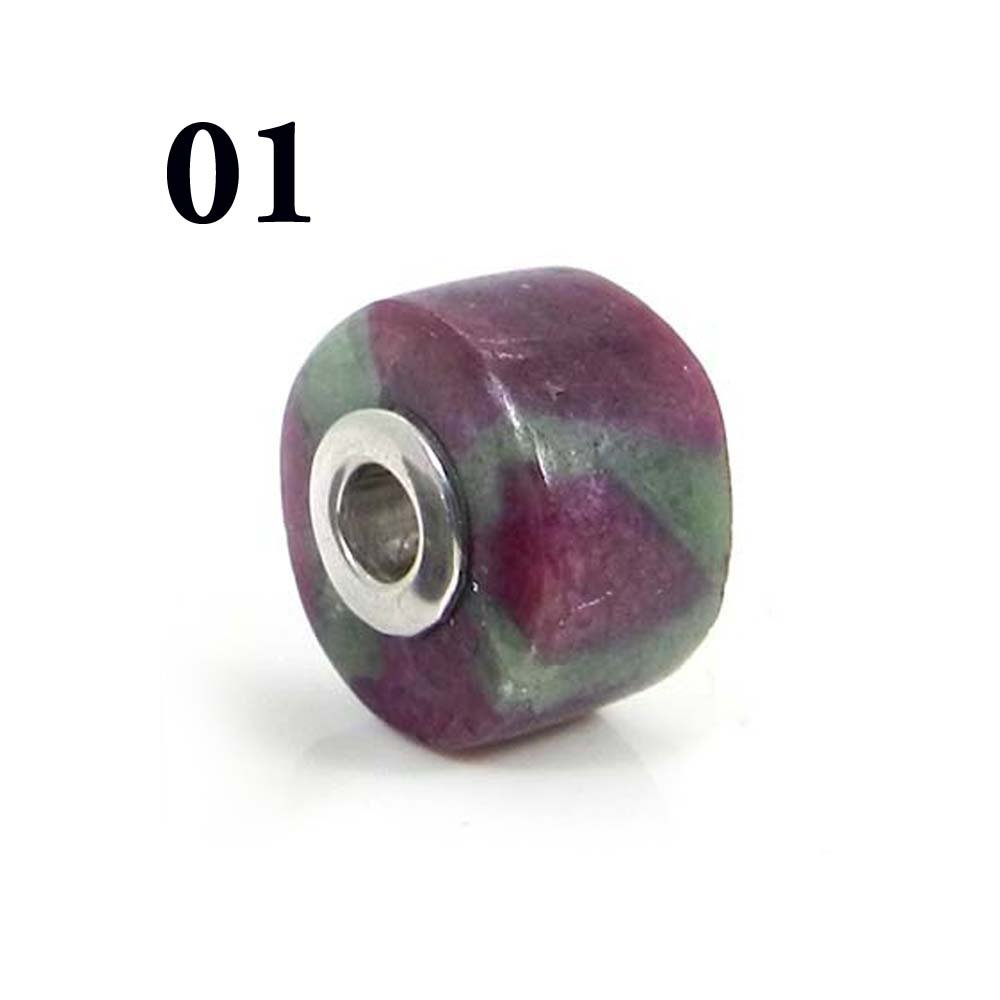 Ruby Zoisite Smooth Flat Big Hole Silver Core Beads For Slide Pendant