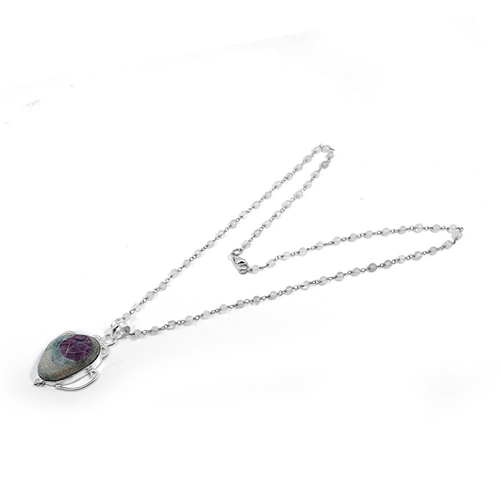Ruby Zosite And White Moonstone 925 Sterling Silver Beads Chain Necklace