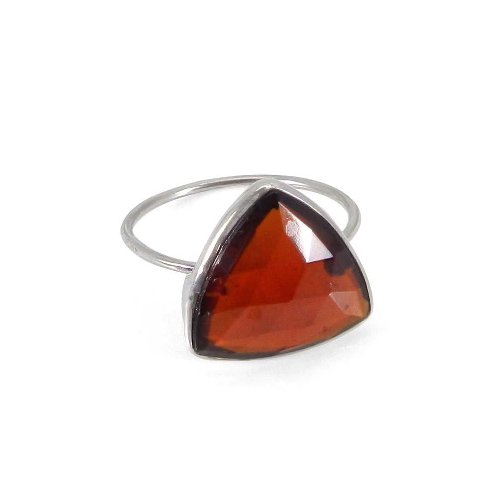Samirra Dark Citrine Hydro trillion gemstone silver bezel ring