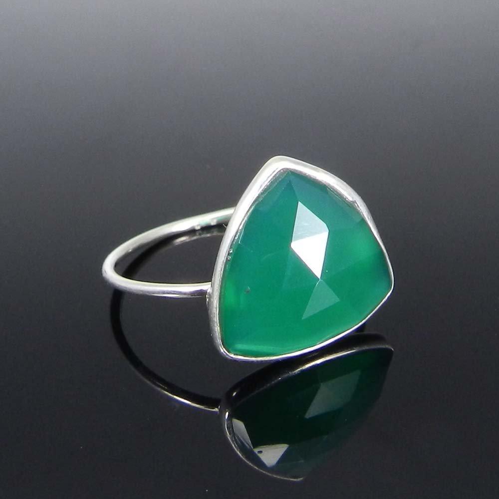 Samirra Green Onyx trillion gemstone silver bezel ring