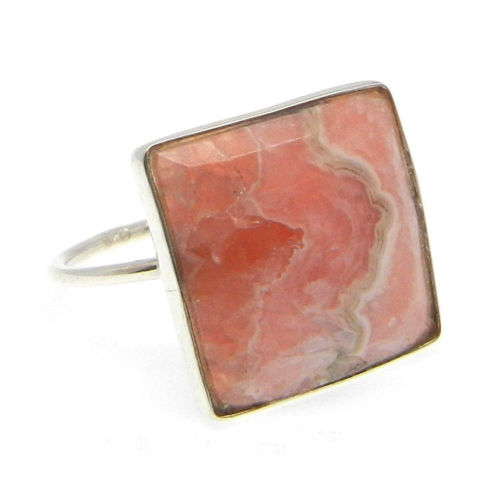 Samirra Rhodochrosite gemstone silver bezel Ring