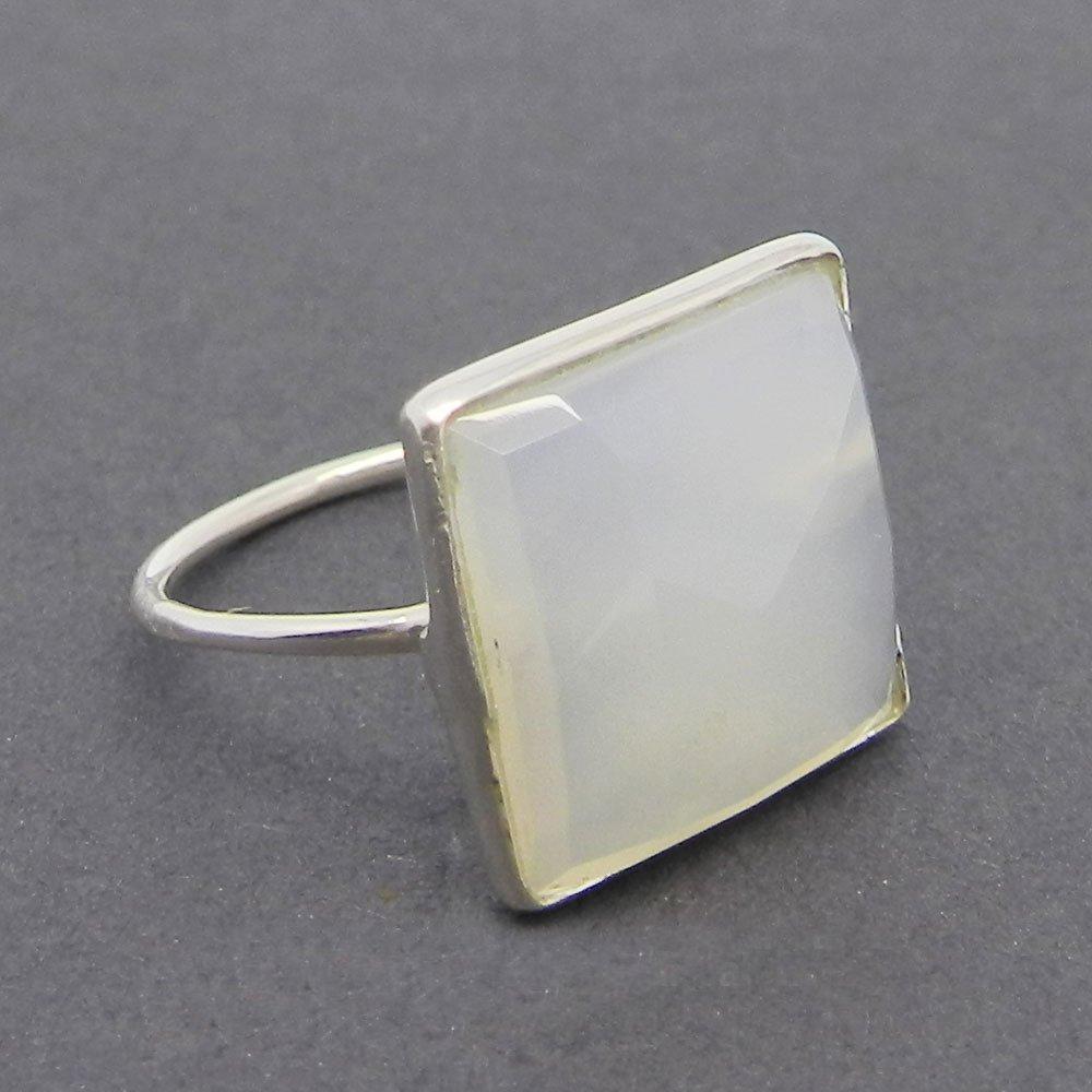 Samirra White onyx gemstone silver bezel set ring