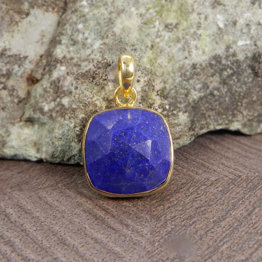 Sarrah Lapis Lazuli Cushion 925 Sterling Silver Bezel Set Pendant