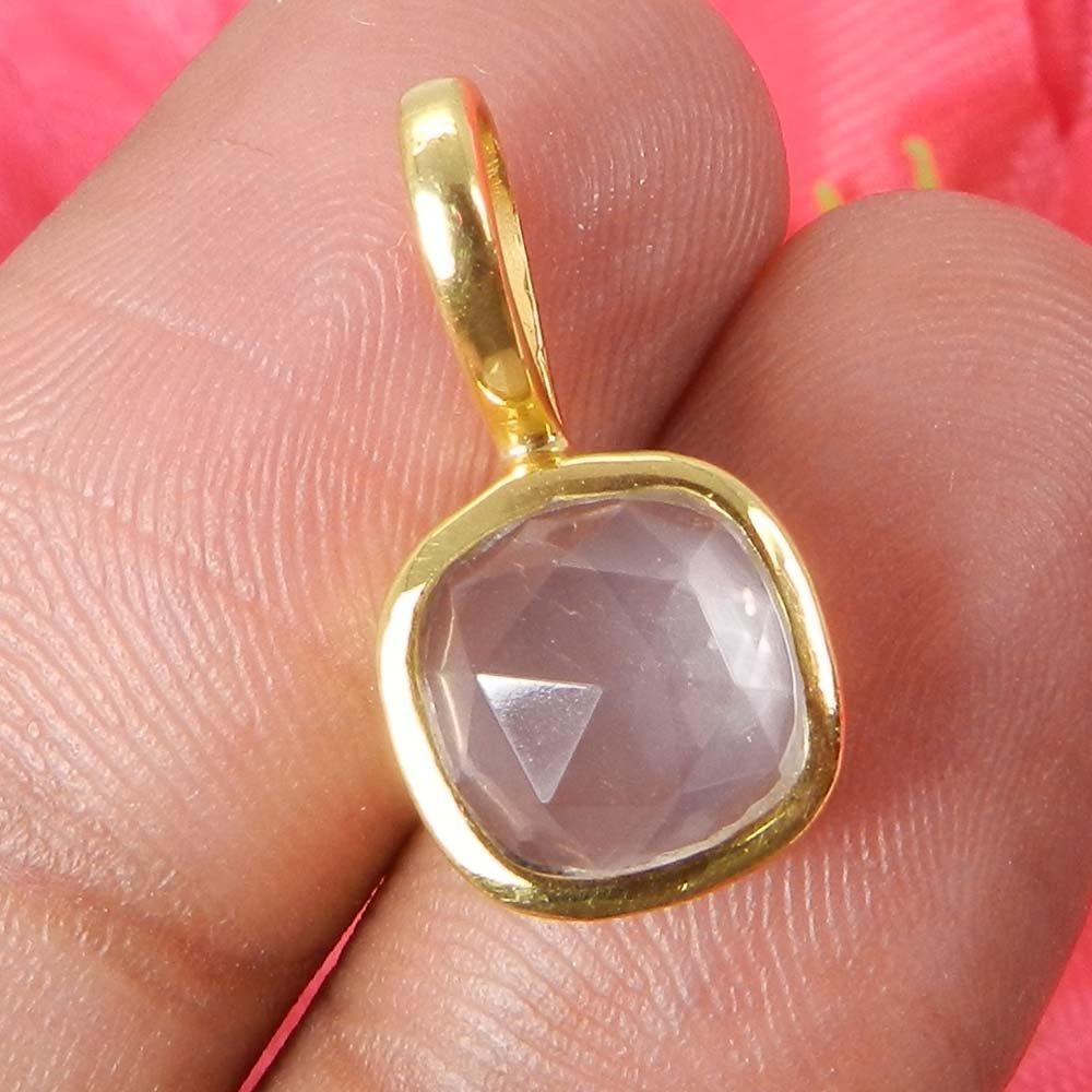 Sarrah Rainbow Moonstone Silver Gold Plated Bezel Set Pendant