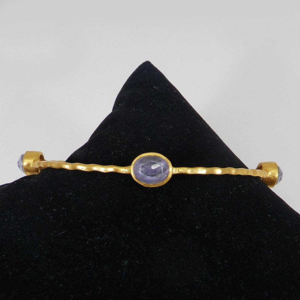 Senorita Lavender Zircon Gold Plated Hammered Bezel Set Bangle