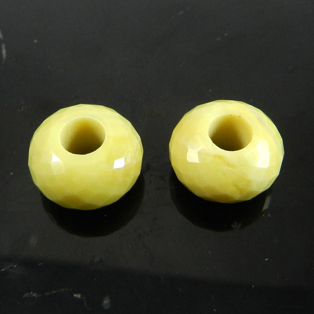 Serpentine Roundel Facet Big Hole Beads For Jewelry Making
