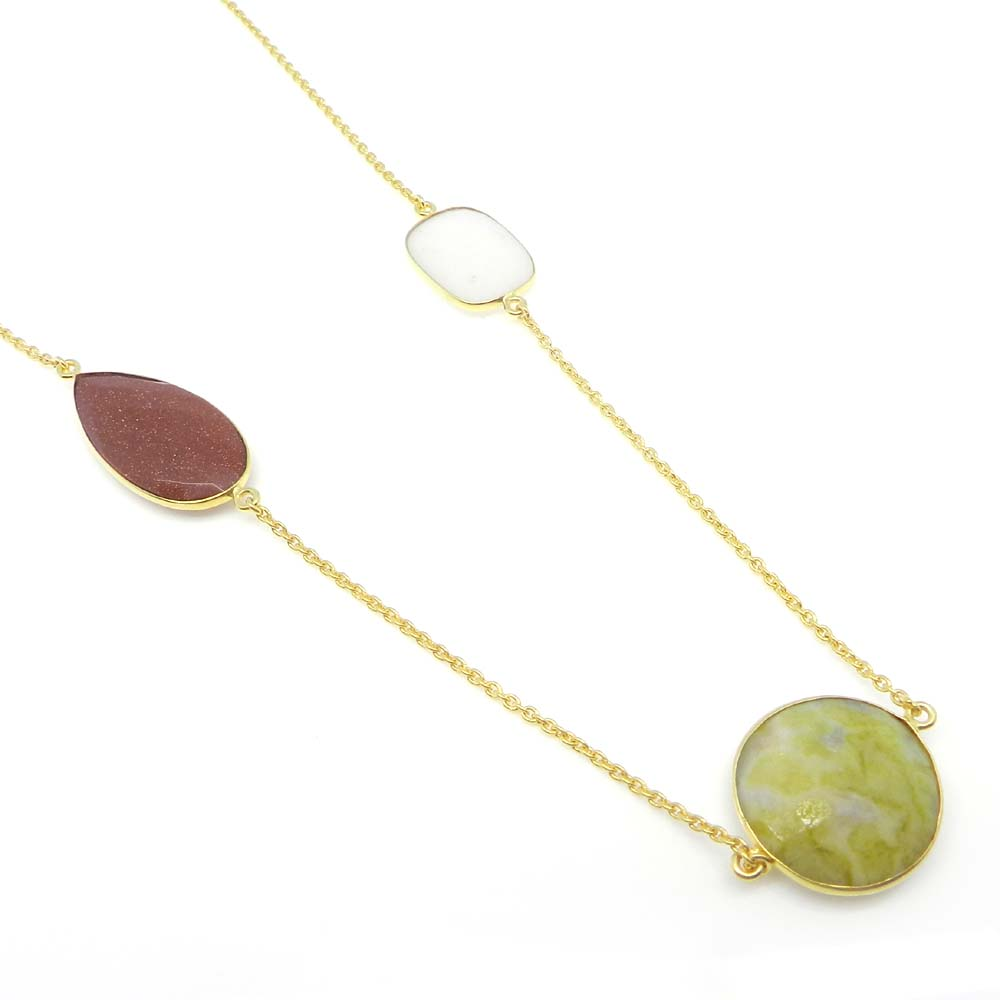Serpentine,Goldstone,White Agate Gold Plated 22 inch Long Chain Necklace