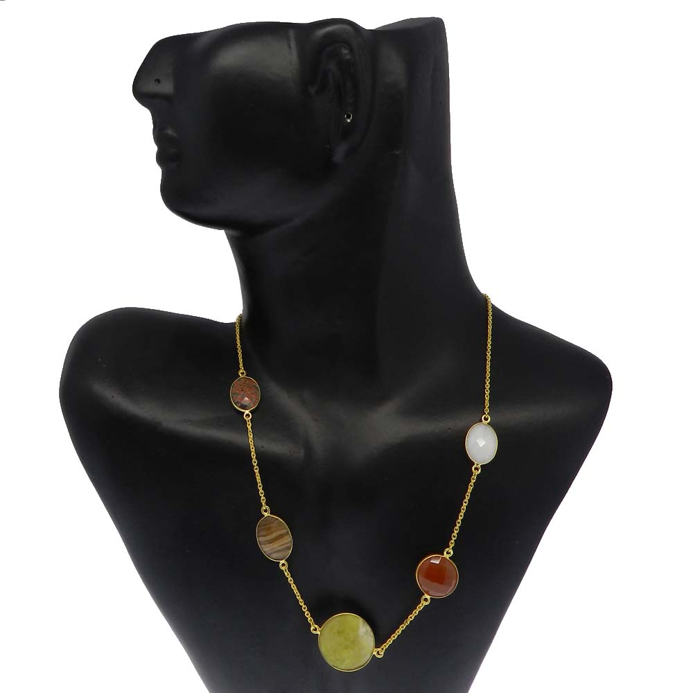 Serpentine,Jasper,White Agate,Carnelian,Obsidian Gold Plated Long Chain Necklace