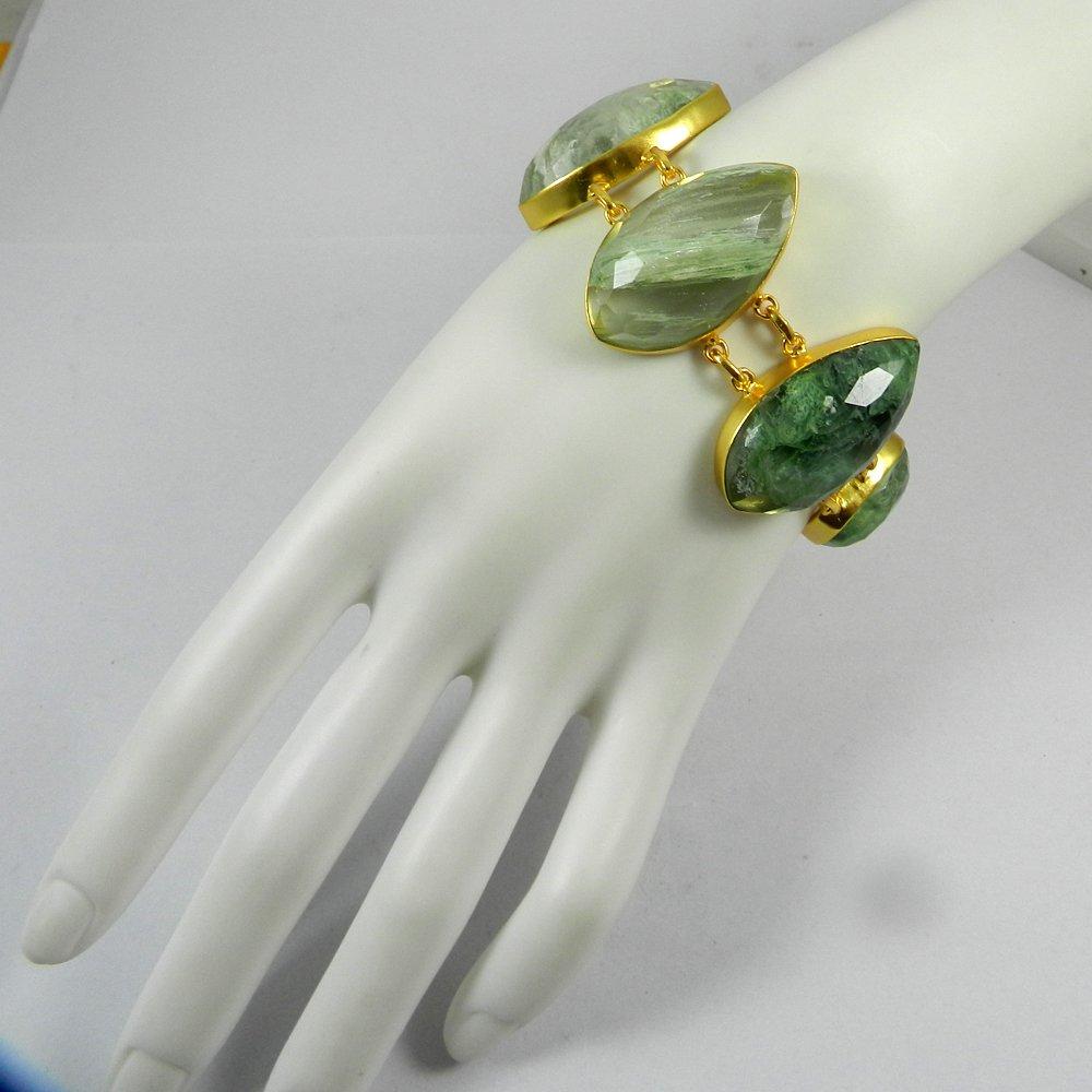 Sherman Aqua Crackle Glass Gold Plated Link Chain Designer Bezel Bracelet
