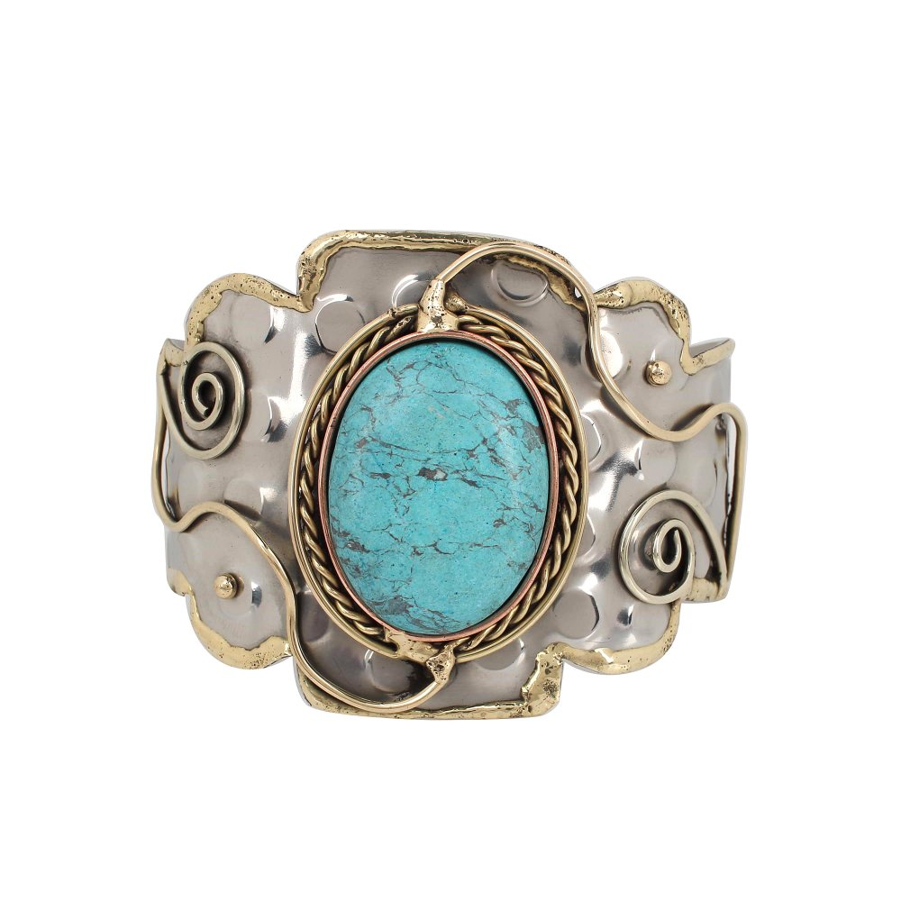 Synthetic Turquoise  Swirls Brass Hammered Cuff Bracelet