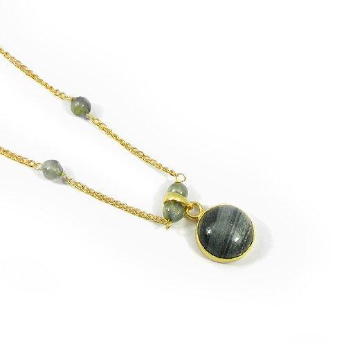 Silver Line Jasper & Labradorite 925 Sterling Silver Gold Plated Necklace