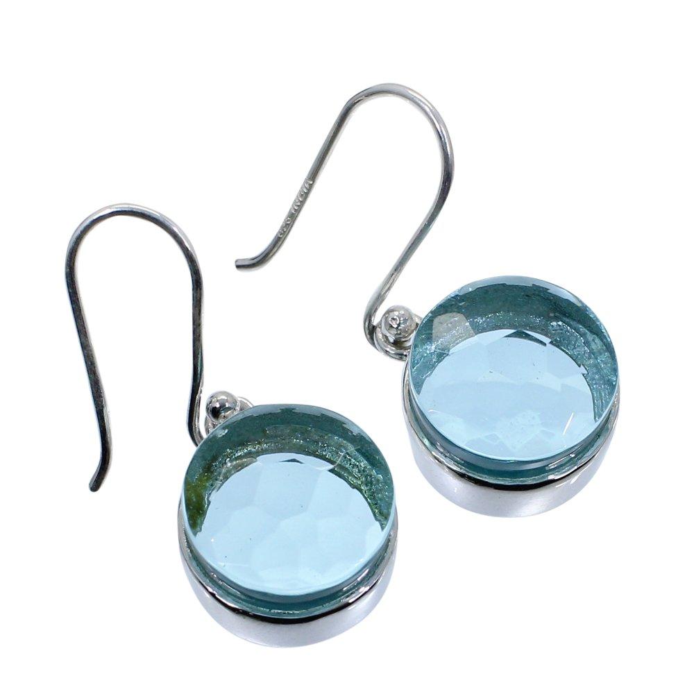 Sky Blue Topaz Hydro 925 Sterling Silver Handmade Dangle Earring