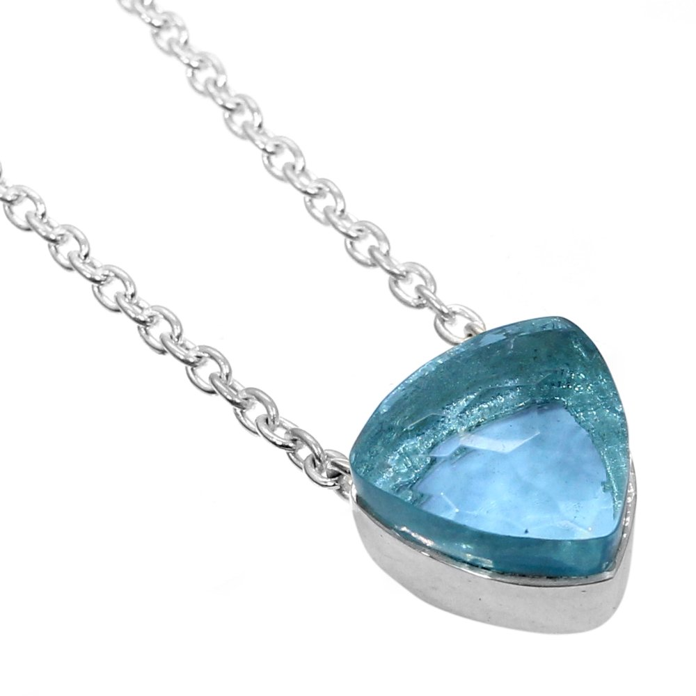 Sky Blue Topaz Hydro 925 Sterling Silver Long Chain Necklace