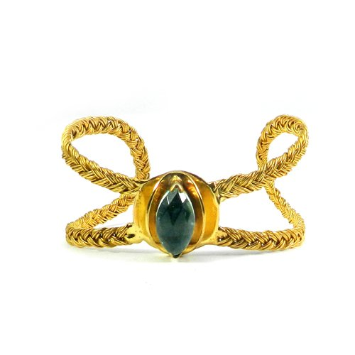 Sky Blue Topaz Hydro Gold Plated Wire Wrapped Adjustable Cuff Bracelet