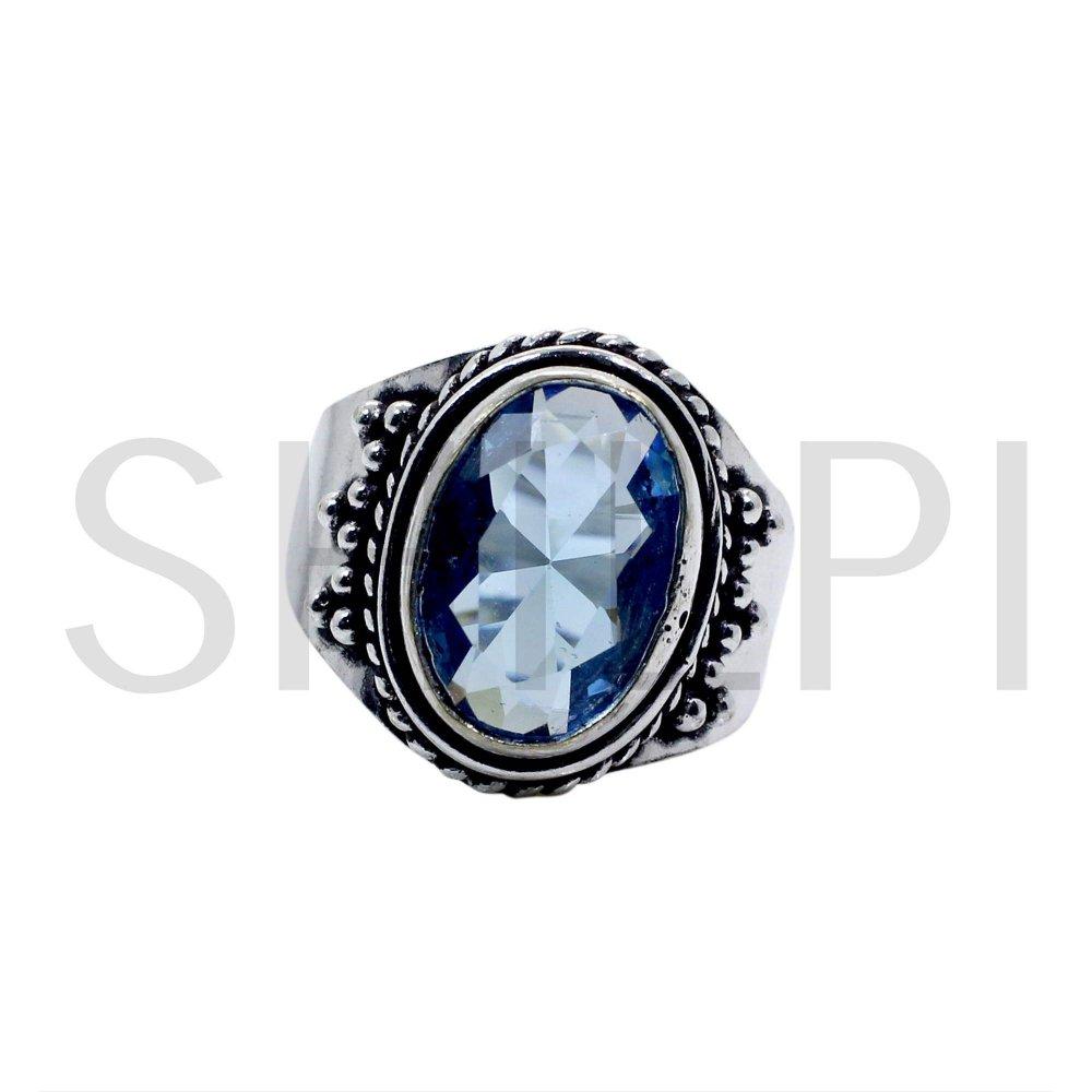 Sky Blue Topaz Hydro Oxidized 925 Sterling Silver Handmade Ring