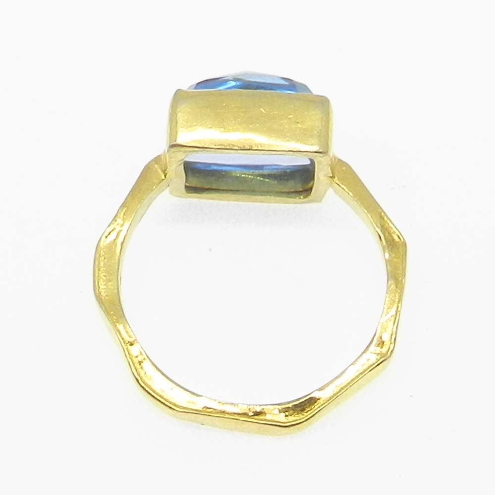 Sky Blue Topaz Hydro Silver Gold Plated Hammered Bezel Set Ring