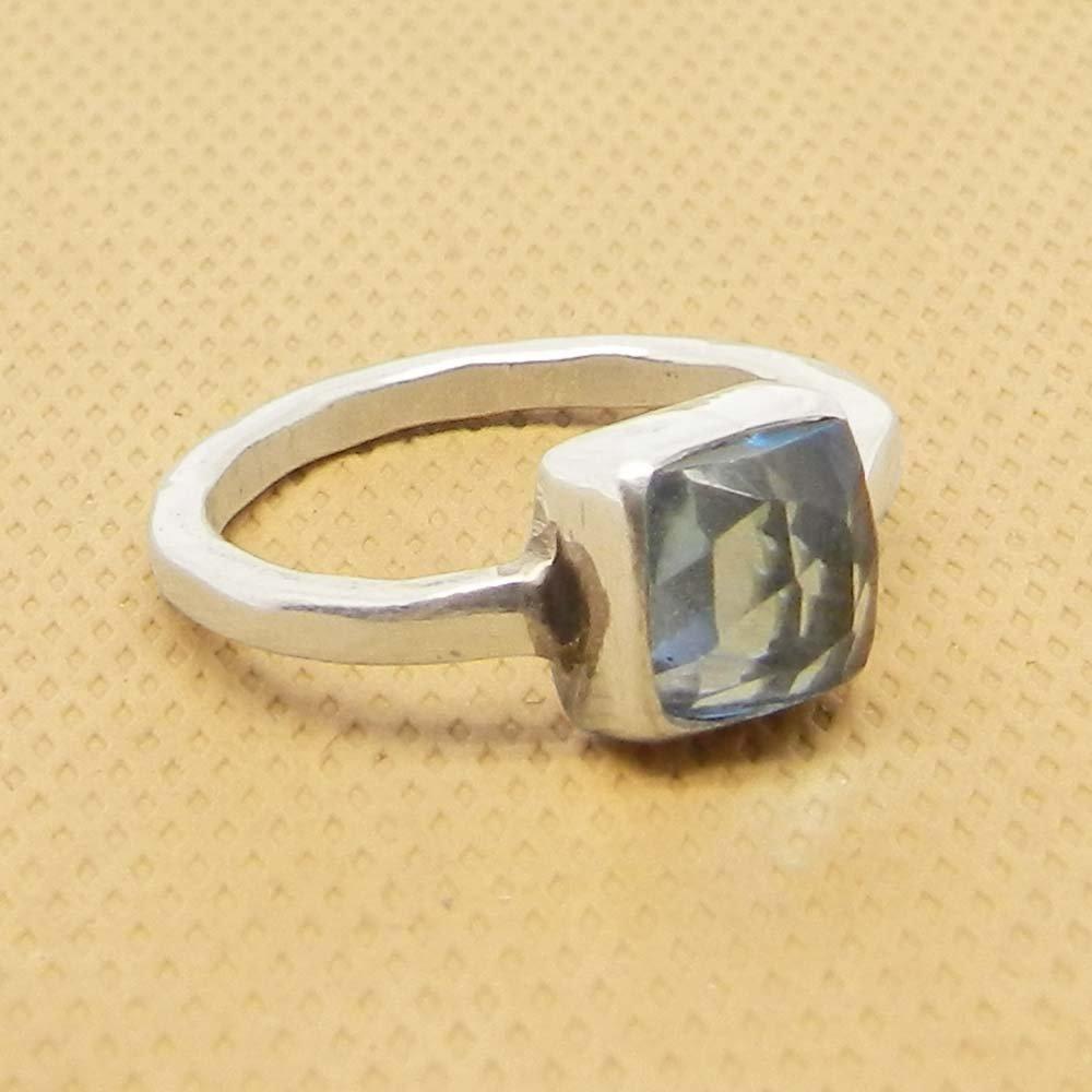 Sky Blue Topaz Hydro Silver Hammered Bezel Set Ring