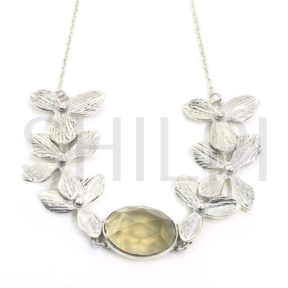 Smoky Hydro 925 Sterling Silver Designer Flower Chain Necklace