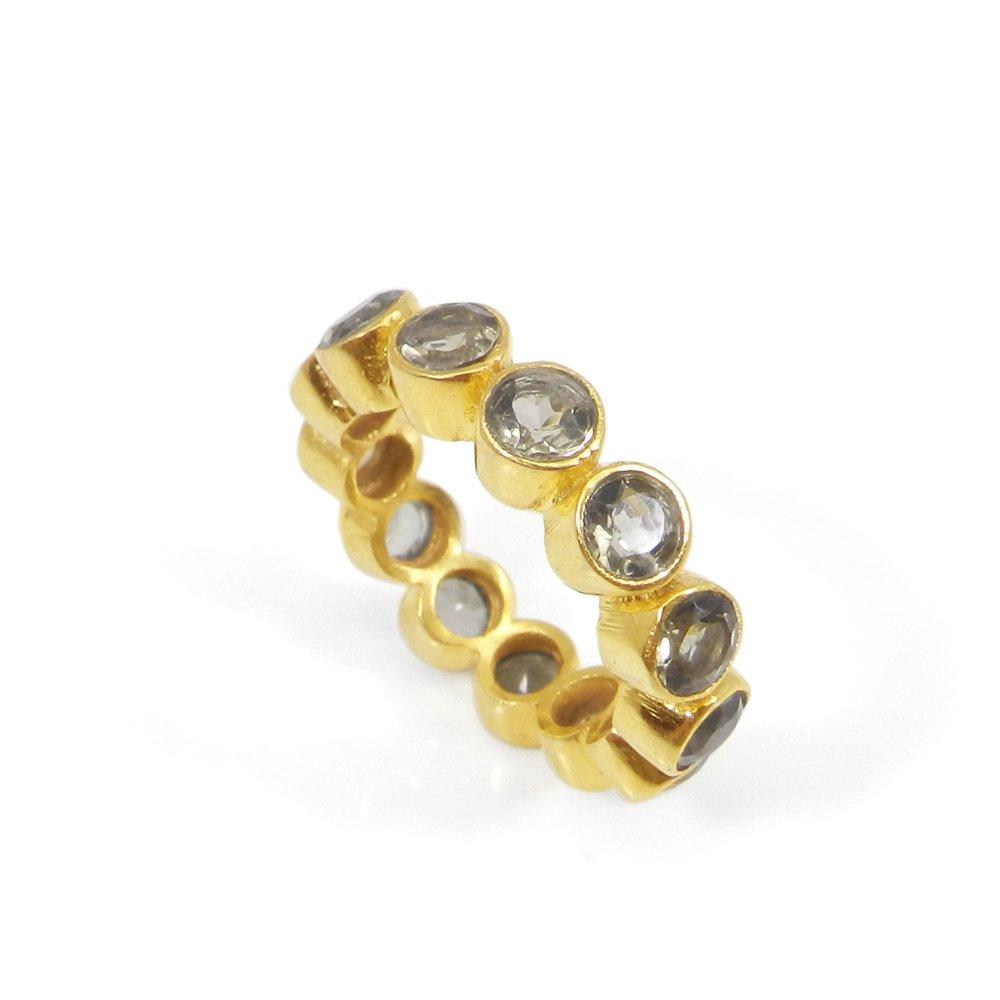 Smoky Quartz Gemstone Gold Plated Eternity Ring