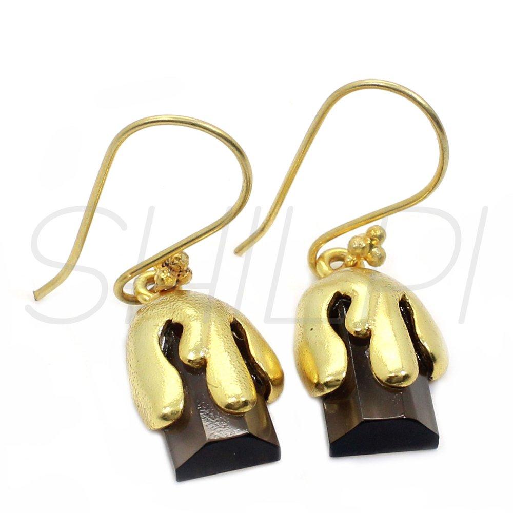 Smoky Quartz Hydro Gold Plated Designer Handmade Dangle Earring