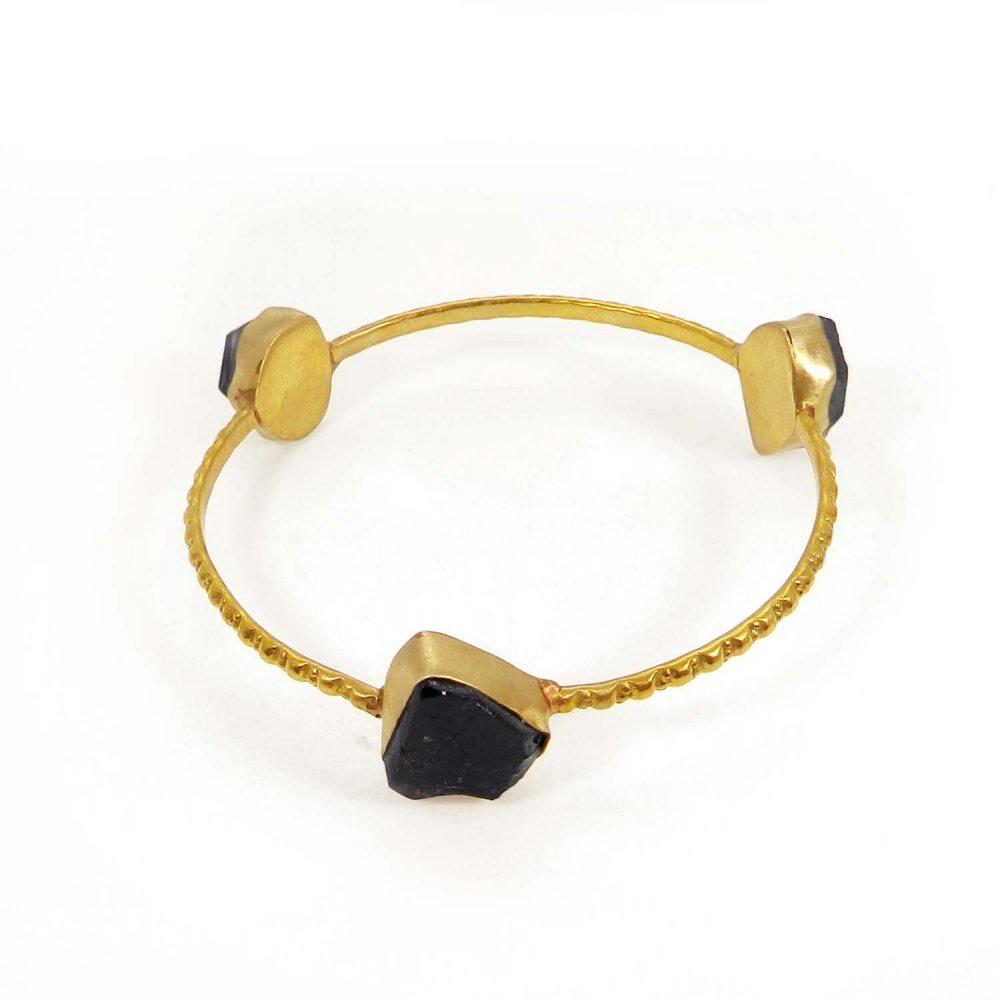 Smoky Quartz Rough Gold Plated Hammered Band Bezel Bracelet