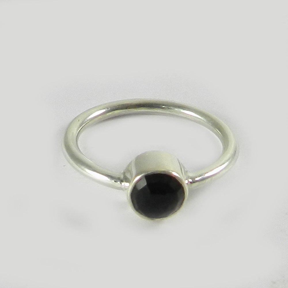 Smoky quartz silver bezel ring