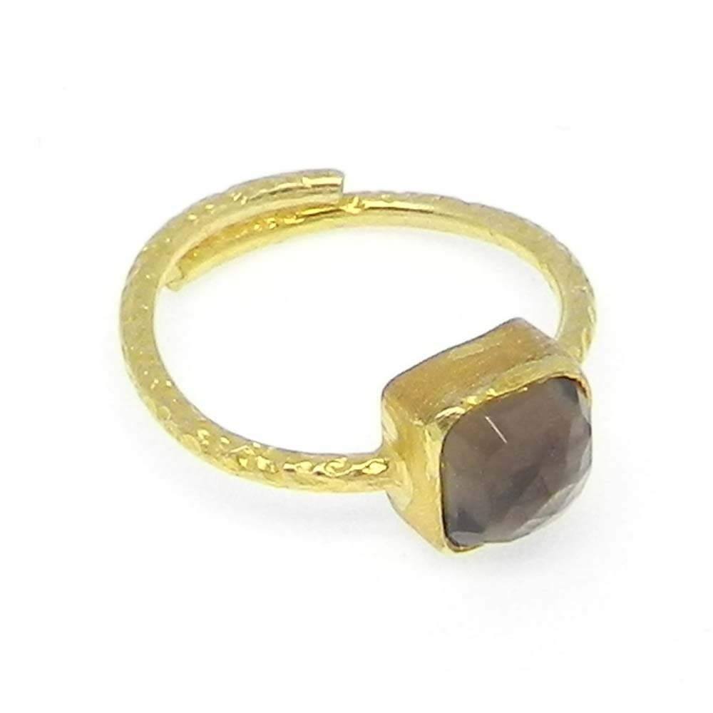 Smoky Quartz Silver Gold Plated Hammered Band Adjustable Ring