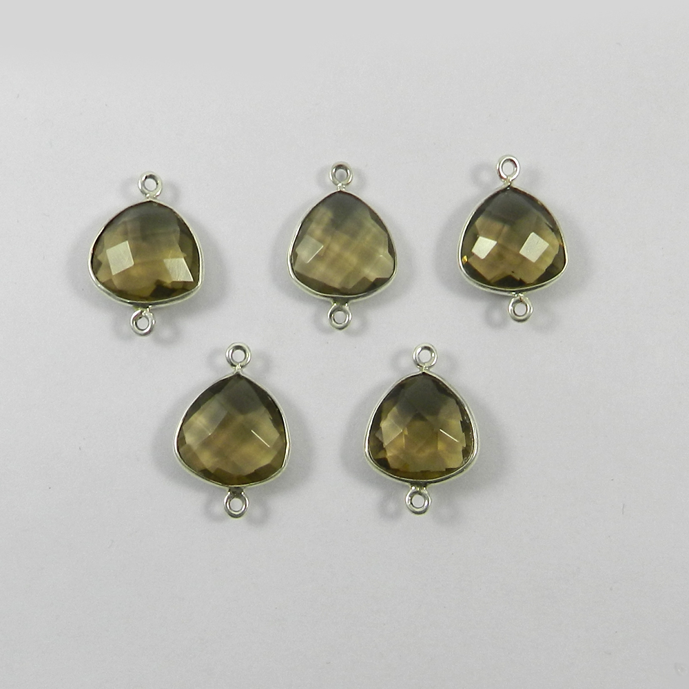Smoky Quartz Trillion 19x12mm 925 Sterling Silver Double Loop Connector