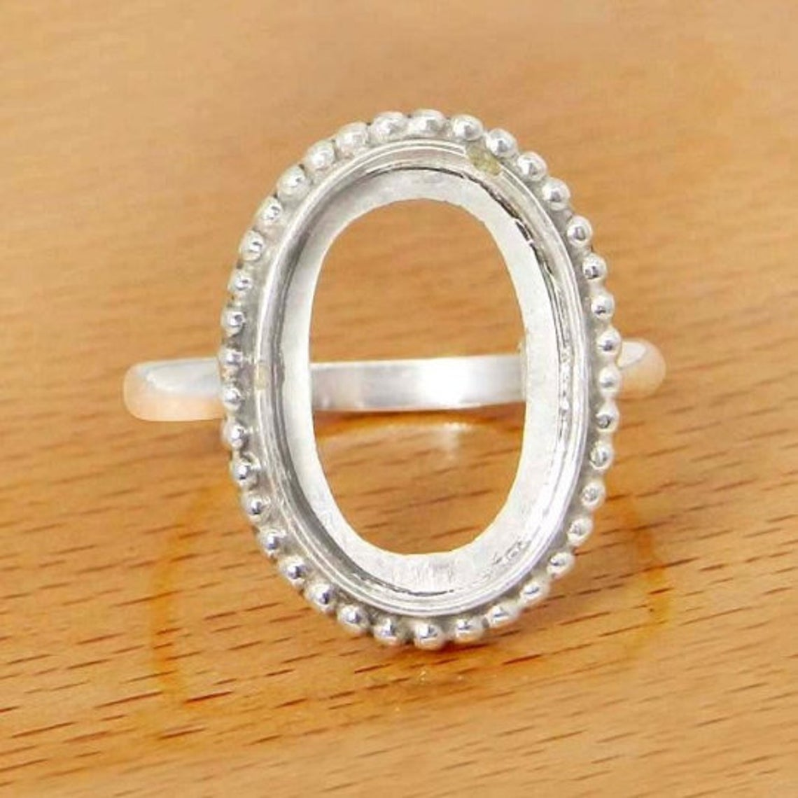 Solid 925 Sterling Silver Blank Ring Collet 6x4mm to 20x15mm Oval Gemstone Bezel Cup For Ring Making Designer Metal Casting For Ring Setting