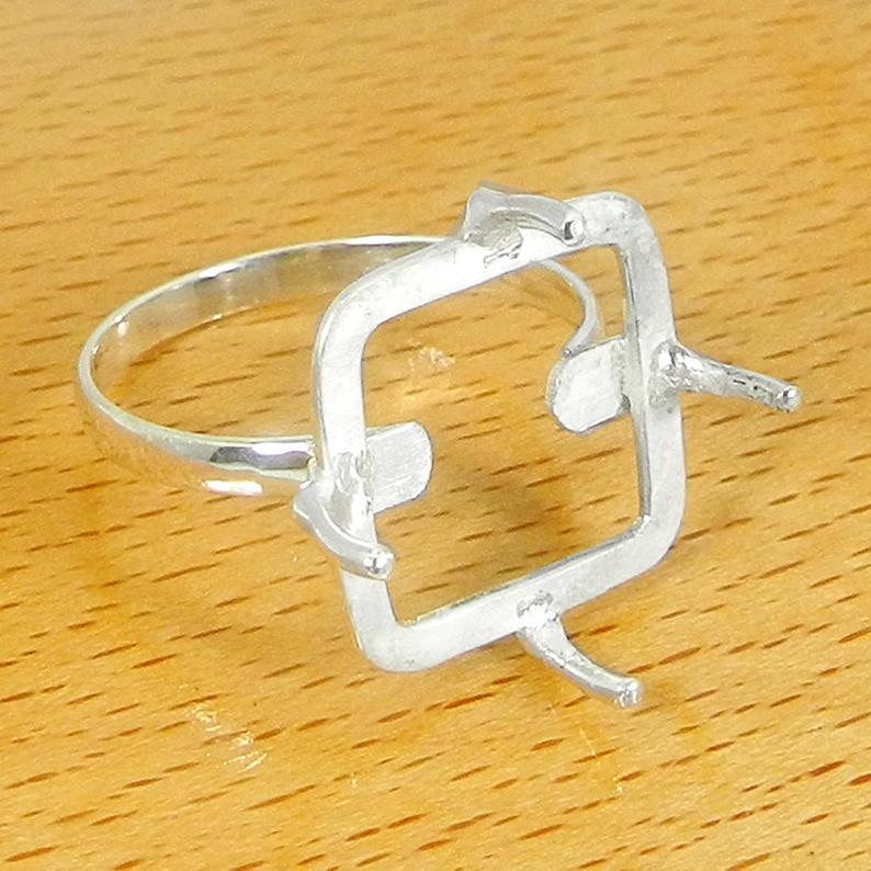 Solid 925 Sterling Silver Collet 3mm to 20mm Square Cut Gemstone Prong Cup For Ring Making Metal Casting For Ring Setting