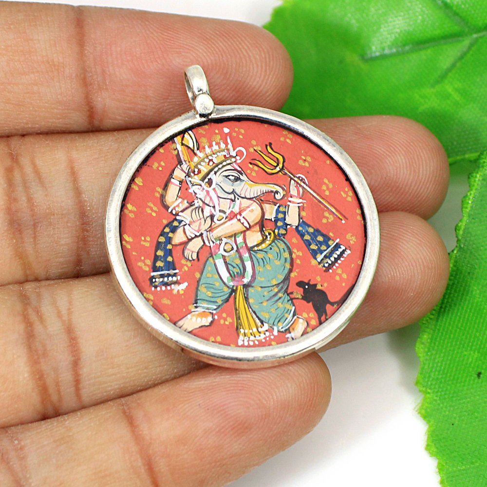 Solid 925 Sterling Silver Hand Painted Lord Ganesha Religious Temple Pendant