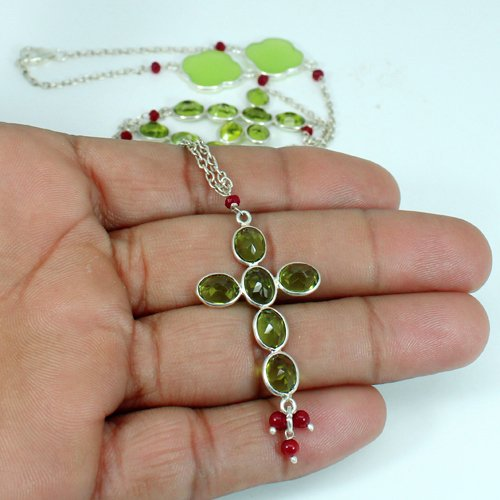 Solid 925 Sterling Silver Necklace Multi Gemstone Necklace Pendant Women Statement Necklace