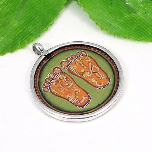 Solid 925 Sterling Silver Pendant Laxmi Foot Charan Paduka Handmade Painting Pendant Women High Polished Pendant Miniature Pendant