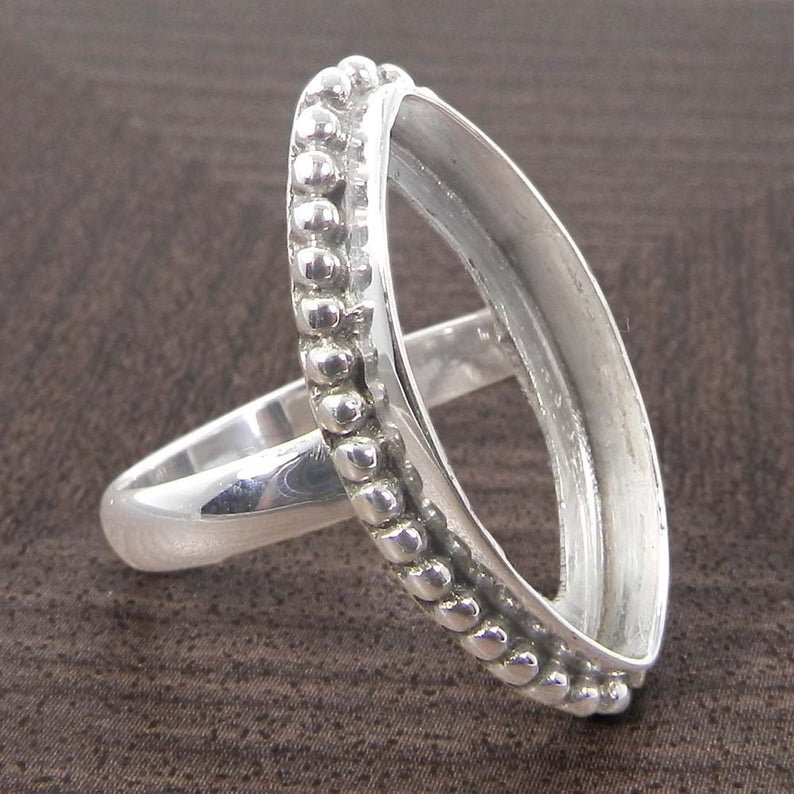 Solid 925 Sterling Silver Ring Collet 6x3mm To 24x12mm Marquise Stone Designer Bezel Cup For Ring Making Metal Casting For Ring Setting Collet