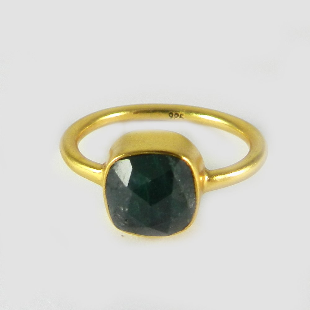 Solid 925 Sterling Silver Ring Emerald Corundum Gemstone Ring Gold Plated Signature Ring Women Wedding Ring