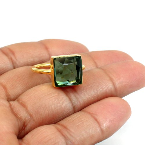 Solid 925 Sterling Silver Ring Green Amethyst Hydro Ring Gold Plated Huge Rings Unisex Ring