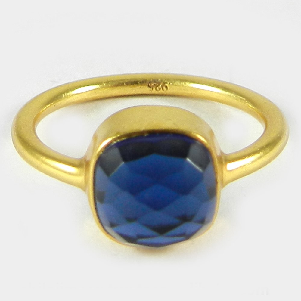 Solid 925 sterling Silver Ring Iolite Hydro Gemstone Ring Gold Plated Handmade Ring Women Ring Birthday Gift For Her