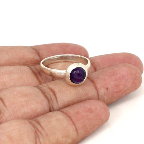 Solid 925 Sterling Silver Ring Natural Amethyst Ring Dainty Rings Women Statement Ring