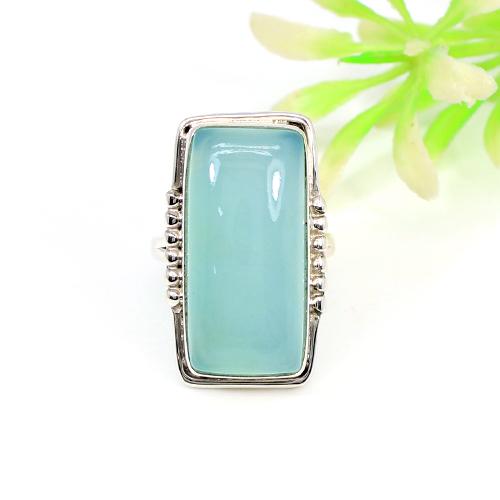 Solid 925 Sterling Silver Ring Natural Aqua Chalcedony Rings Designer Mens Huge Rings Friendship Gift Rings Wedding Ring