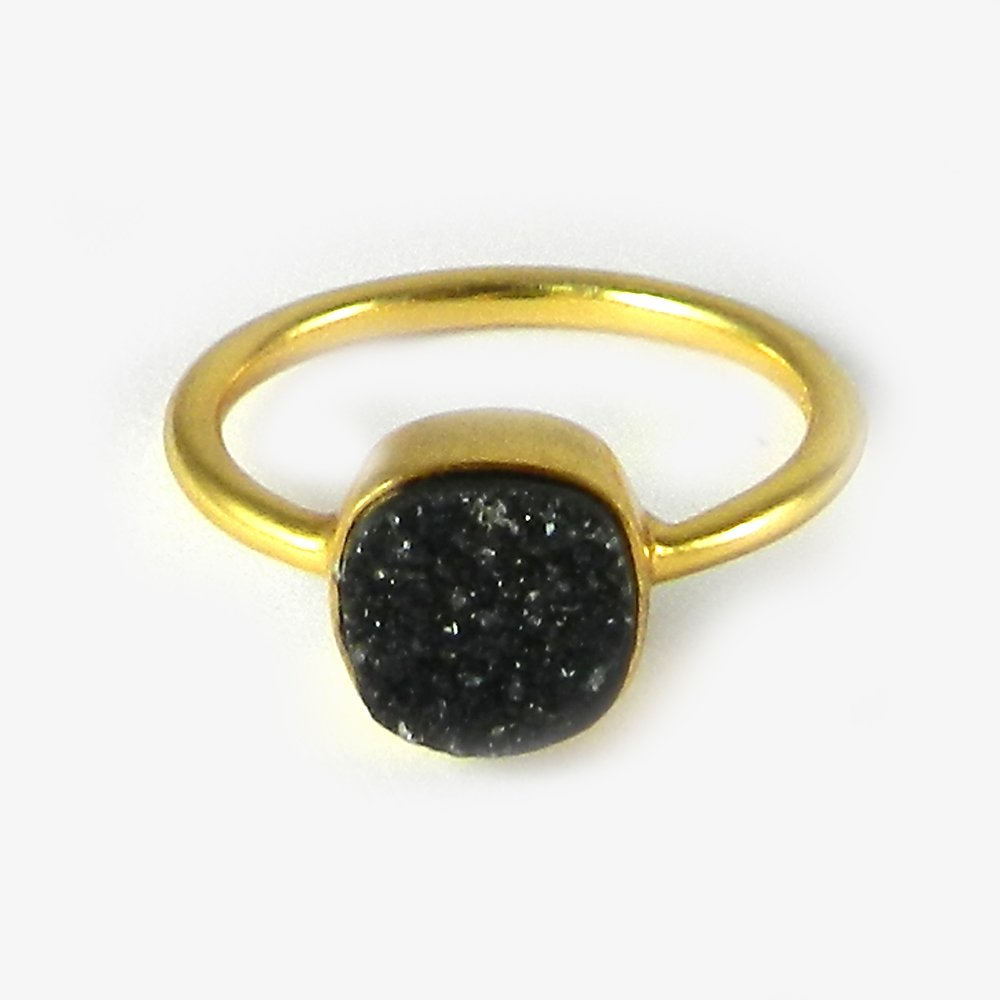 Solid 925 Sterling Silver Ring Natural Black Druzy Gemstone Ring Gold Plated Dainty Ring Everyday Wear Ring Women Ring