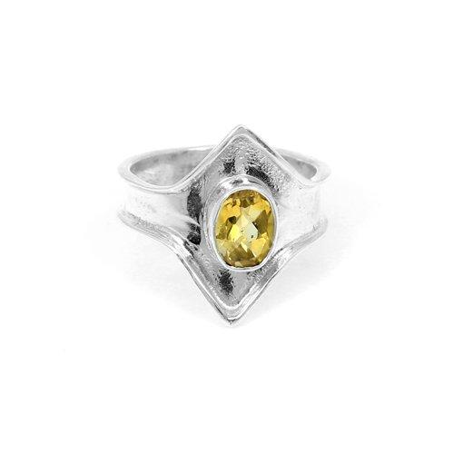 Solid 925 Sterling Silver Ring Natural Citrine Gemstone Rings Womens Simple Designer Boho Statement Rings Handmade Rings