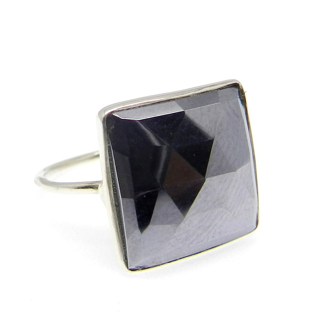 Solid 925 Sterling Silver Ring Natural Hematite Gemstone Ring Bohemian Designer Handmade Ring Mens Ring