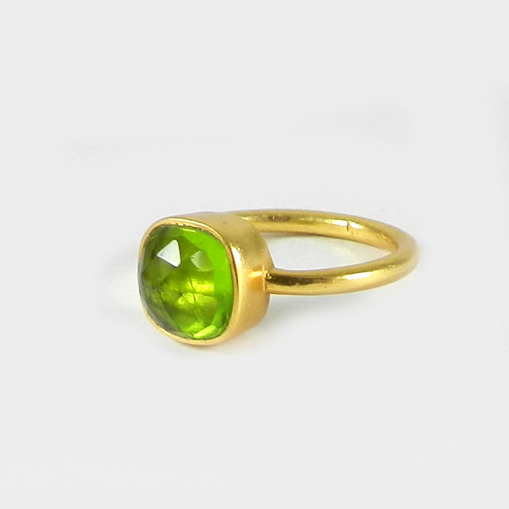 Solid 925 Sterling Silver Ring Peridot Hydro Gemstone Ring Gold Plated Statement Ring Wedding Gift Ring Dainty Ring