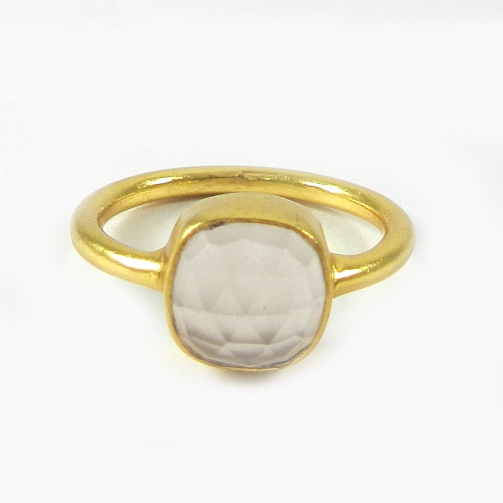 Solid 925 Sterling Silver Ring Pink Chalcedony Gemstone Ring Women Gold Plated Ring Solitaire Ring Gift For Her