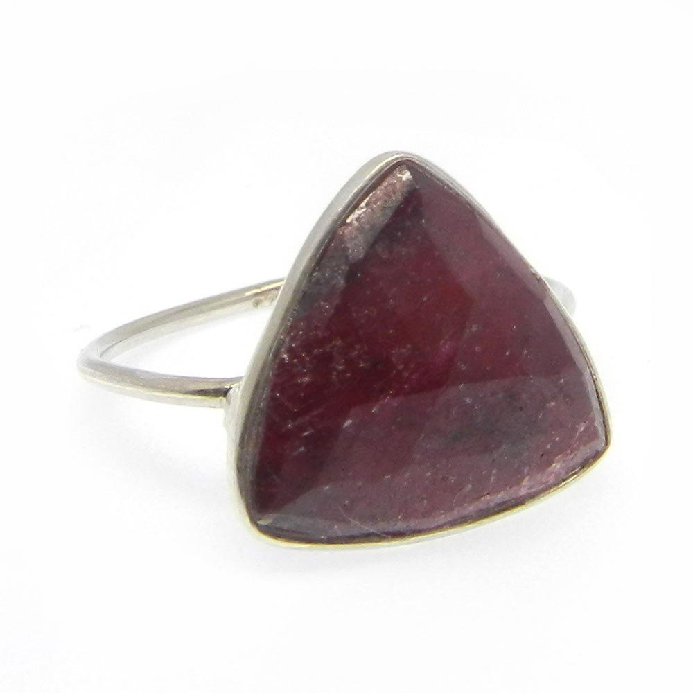 Solid 925 Sterling Silver Ring Ruby Corundum Gemstone Ring Fine Quality Bezel Ring Unisex Statement Ring