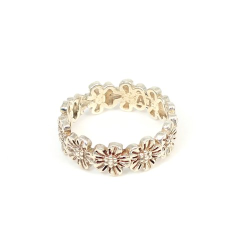 Solid 925 Sterling Silver Ring Summer Flower Eternity Wedding Rings Engagement Rings Mother's Day Gift Ring Proposal Ring
