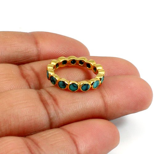 Solid 925 Sterling Silver Ring Synthetic Blue Turquoise Eternity Ring Bezel Setting Handmade Ring