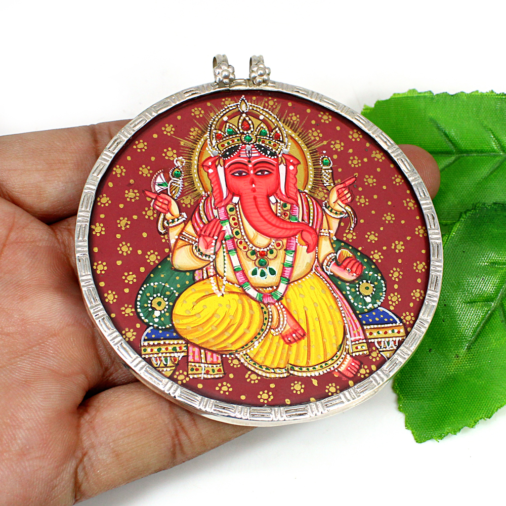 Solid Silver Ganesha Lord of Good Fortune Miniature Art Pendant