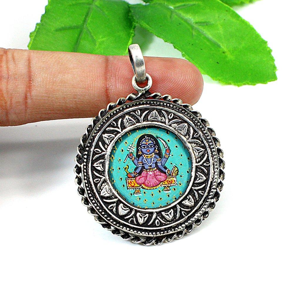 Solid Silver Goddess Mahashakti Kali Mata Hand Painting Pendant